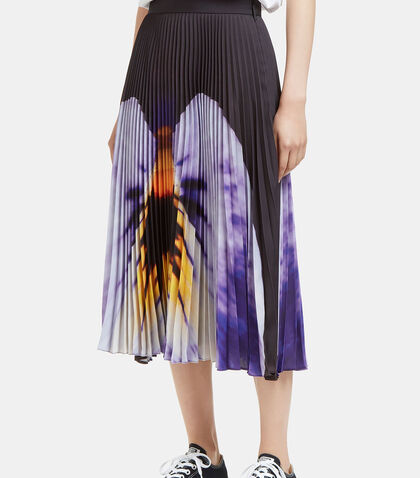 Pansy Print Pleated Skirt by Christopher Kane