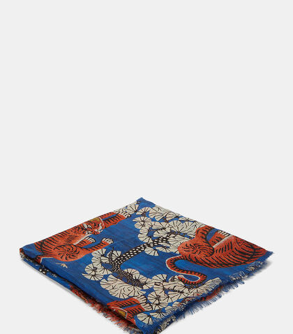 Bengal Tiger Jacquard Silk Modal Shawl by Gucci