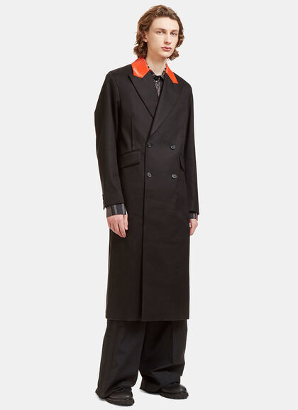 Buy Contrast Collared Double-Breasted Coat by Yang Li men clothes online