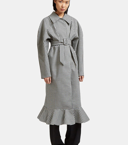 Jellychess Long Gingham Frilled Coat by A.W.A.K.E