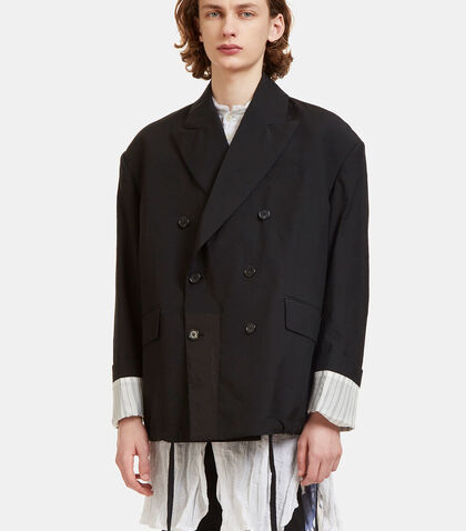 Oversized Double-Breasted Creased Blazer Jacket by Yang Li