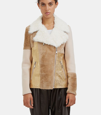 Patchwork Shearling Biker Jacket by Drome