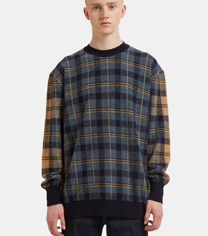 Dropped Shoulder Checked Knit Sweater by Stella Mccartney
