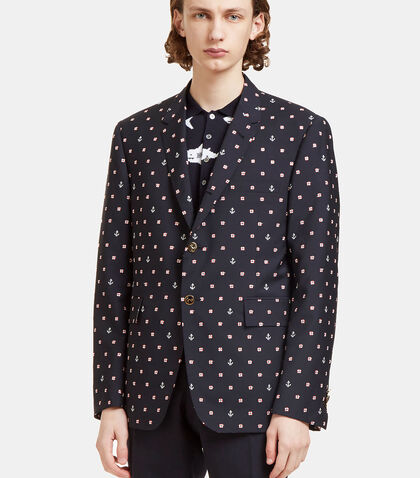 Buoyancy Ring and Anchor Embroidered Blazer Jacket by Thom Browne
