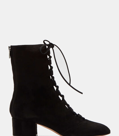 Delia Lace-Up Block Heeled Ankle Boots by Gianvito Rossi
