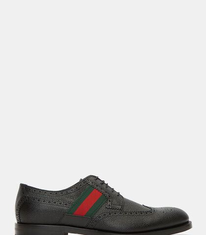 Striped Webbing Grained Leather Brogues by Gucci