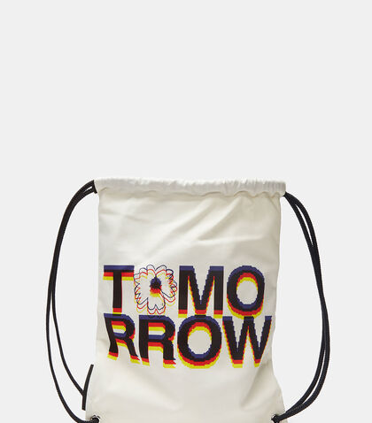 Tomorrow Print Canvas Drawstring Sport Backpack by Stella McCartney