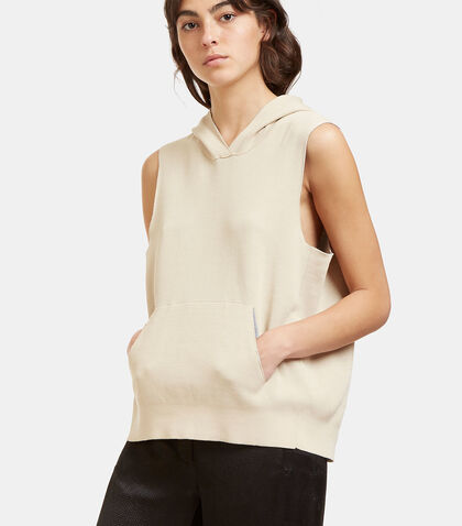 Oversized Bi-Colour Hooded Vest Top by Boboutic