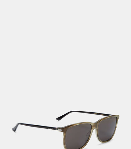 Marbled Contrast Arm Square Sunglasses by Gucci