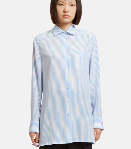 Oversized Striped Draped Back Shirt by Valentino