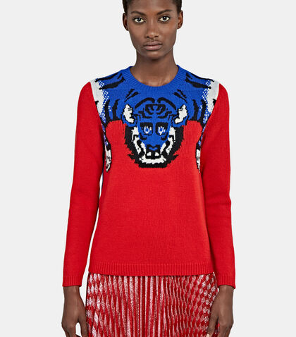 Tiger Knit Crew Neck Sweater by Gucci