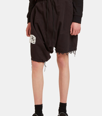 GTV Mosh Asymmetric Dropped Shorts by Garbage TV