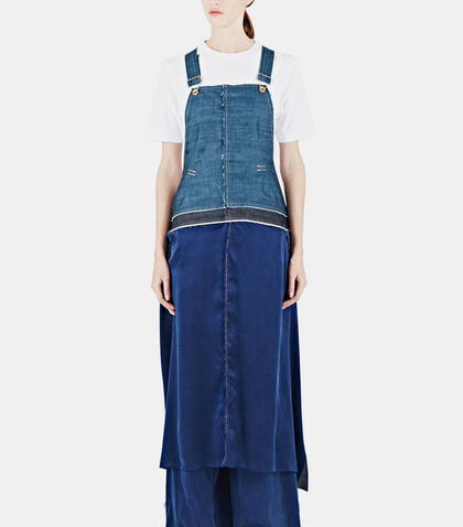 Broken Twill & Silk Apron Dungarees by Hannah Jinkins