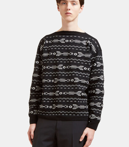 Arrow Knit Boat Neck Sweater by Lanvin
