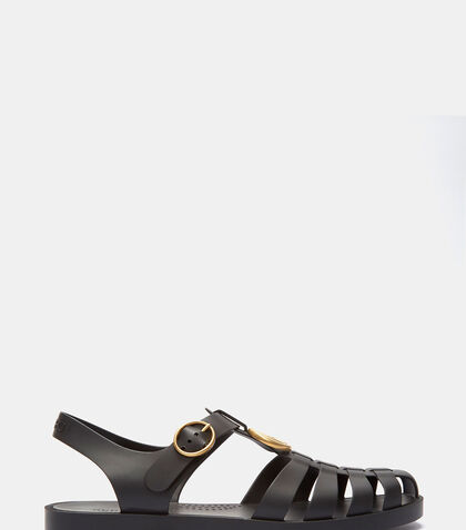 Tiger Head Rubber Buckle Sandals by Gucci