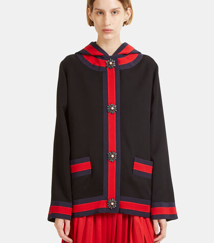 Embroidered Viscose Hooded Jacket by Gucci