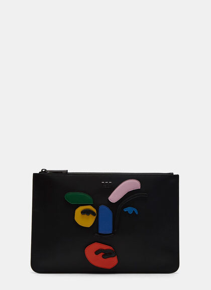 Buy Grace John Booth Face Leather Clutch by Fendi men clothes online