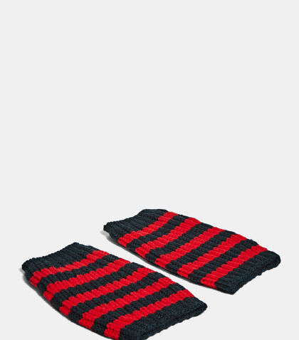 Striped Knit Hand Warmer Gloves by Gucci