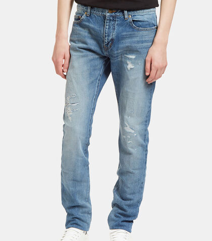 Destroyed Patch Skinny Jeans by Saint Laurent
