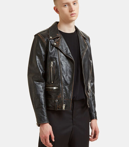 Bouche Vintage Leather Motorcycle Jacket by Saint Laurent