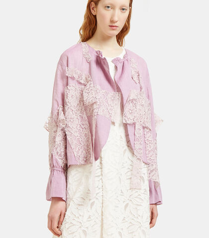 Draped Lace Patch Jacket by Renli Su