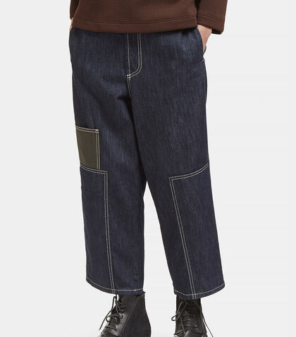 Contrast Stitched Wide Patch Jeans by Marni