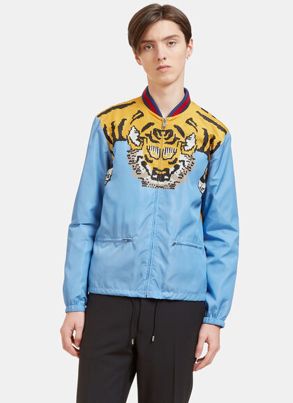 Buy Tiger Print Windbreaker Bomber Jacket by Gucci men clothes online