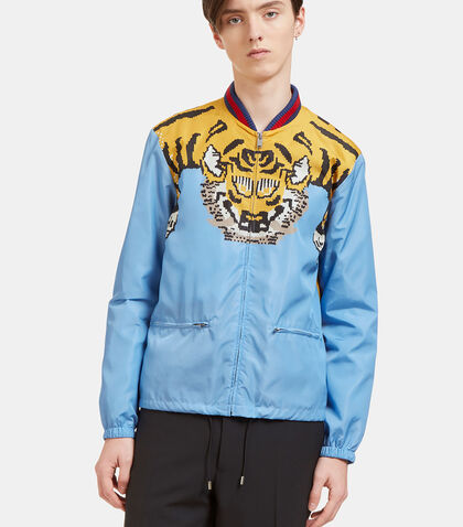 Tiger Print Windbreaker Bomber Jacket by Gucci