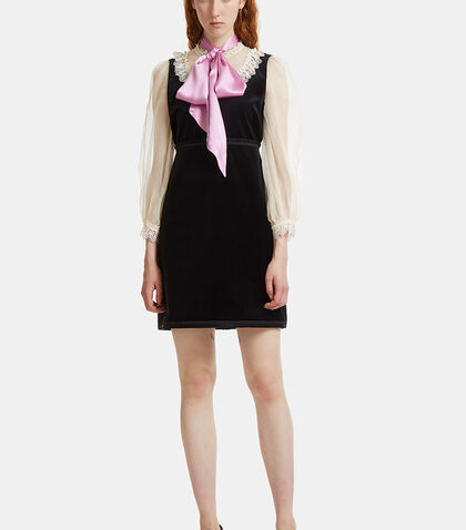 Lace-Trimmed Pussybow Velvet Dress by Gucci