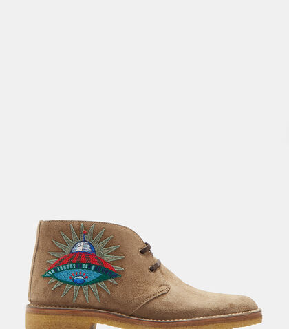 Suede Embroidered Appliqué Ankle Boots by Gucci