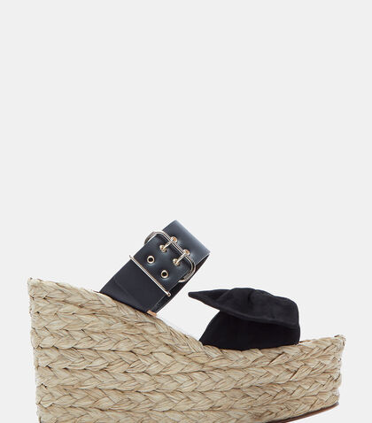 Suede Bow Woven Raffia Wedge Sandals by Valentino
