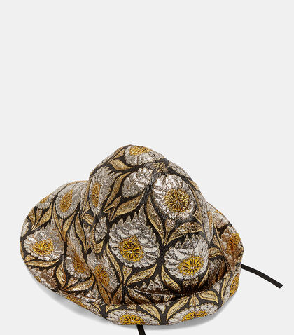 Wide-Brim Lurex Floral Jacquard Hat by Gucci