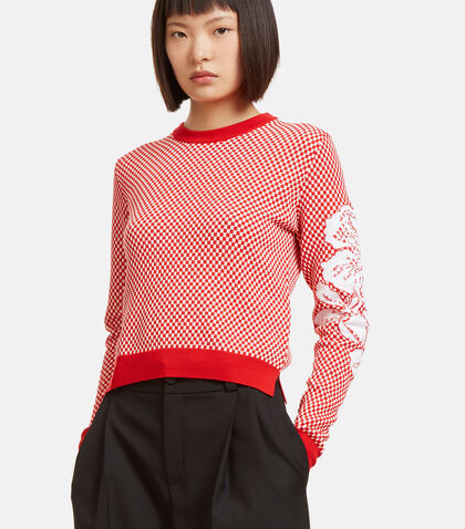 Garland Poppy Print Checkerboard Knit Sweater by Fendi