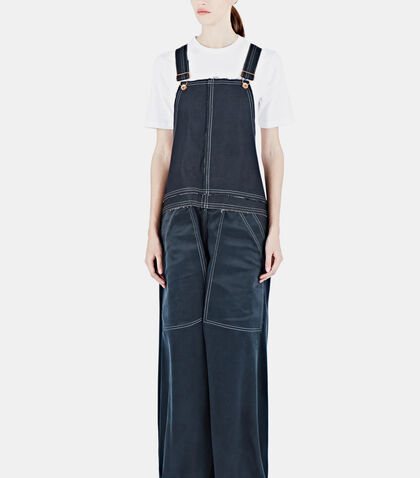 Silk & Coated Denim Dungarees by Hannah Jinkins