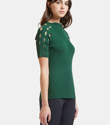 Ribbed Laser-Cut Mock Neck Top by Nomia