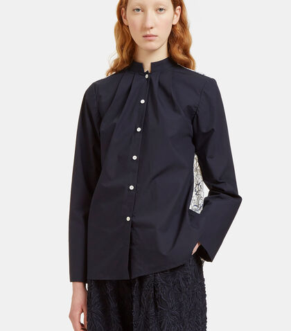 Lace Back Band Collared Shirt by Renli Su