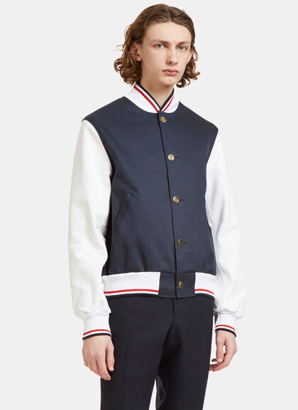 Buy Leather Sleeved Varsity Bomber Jacket by Thom Browne men clothes online