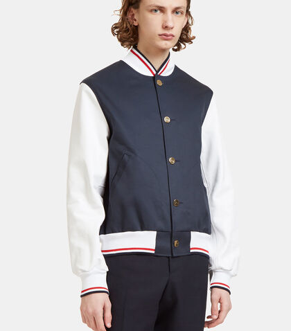 Leather Sleeved Varsity Bomber Jacket by Thom Browne