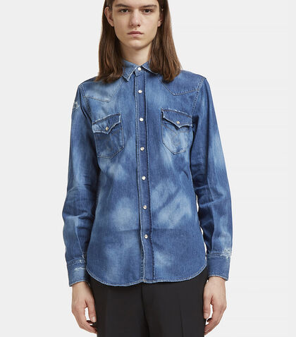 Repaired Western Bleached Denim Shirt by Saint Laurent