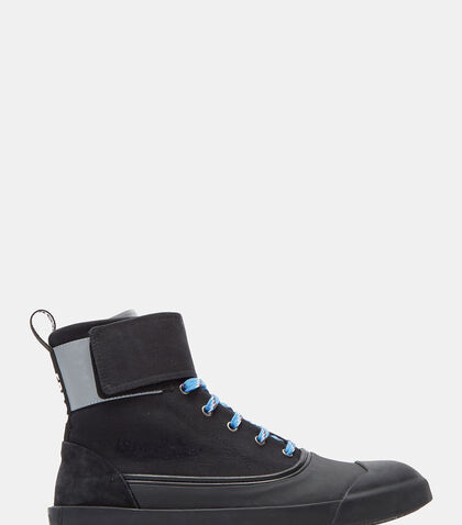 Aged Canvas Strapped High-Top Sneakers by Lanvin