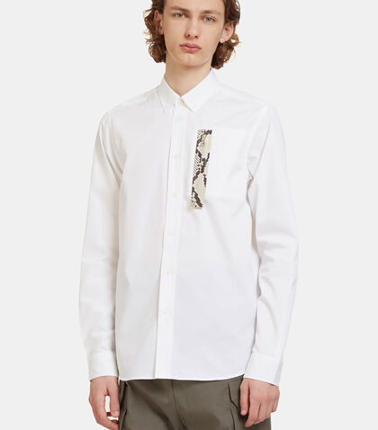 Faux Snakeskin Trimmed Pocket Shirt by Oamc
