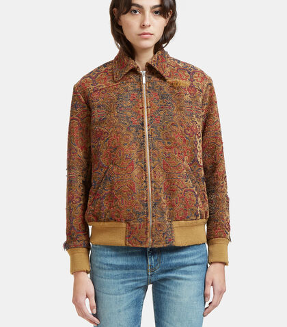 Tapestry Frayed Jacket by Saint Laurent