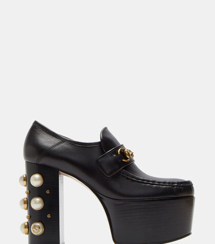 Vegas Pearl Studded Platform Horsebit Loafers by Gucci