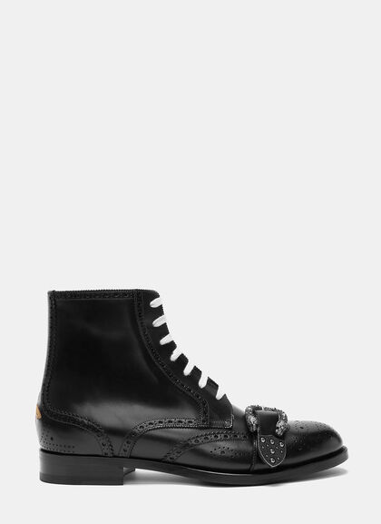 Buy Spirit Tiger Head Buckled Brogue Boots by Gucci men clothes online
