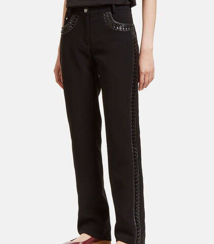 Kurt Leather Whipstitched Straight Leg Pants by Altuzarra