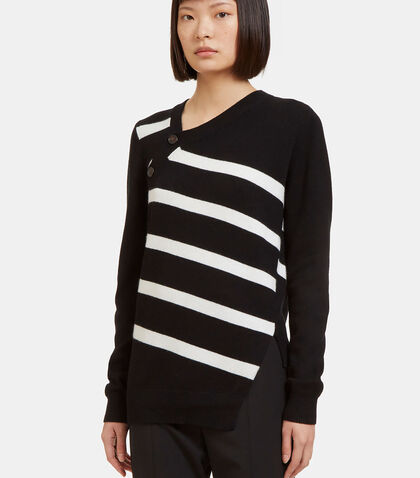 Asymmetric Buttoned Striped Cashmere Knit Sweater by Proenza Schouler