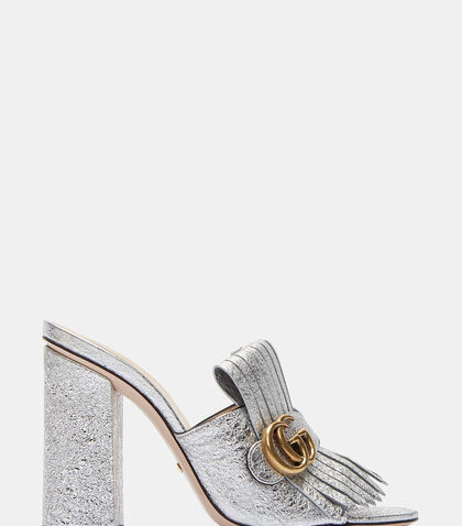 Metallic Fringed Heeled Slide Mules by Gucci