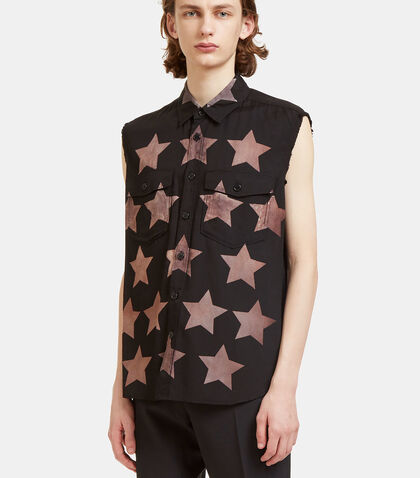 Star Print Sleeveless Shirt by Saint Laurent