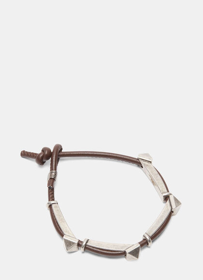 Buy Oxidised Pyramid Stud Leather Bracelet by Valentino men clothes online