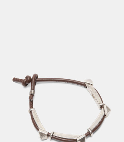 Oxidised Pyramid Stud Leather Bracelet by Valentino
